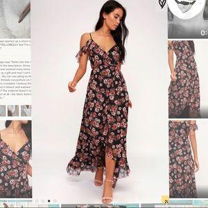 Black Floral Print Off-theShoulder Wrap Maxi Dress